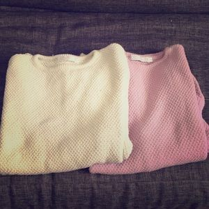 2 Identical Cotton Knit Sweaters: Lilac & PaleSage